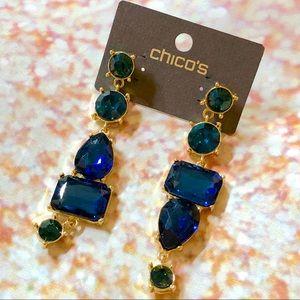 Chico's Blue Green Stone Gold Tone Drop Earrings